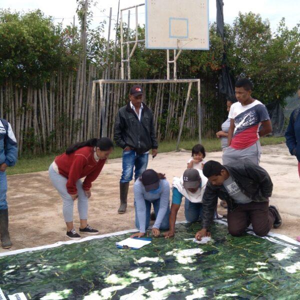 Trabajo comunitario desde el componente territorio y naturaleza Nasa Çxhaçxha. Desde el control territorial seguro en el territorio de Páez.